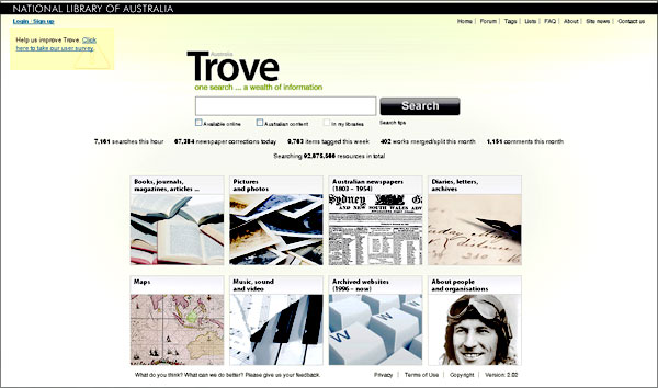 screenshot (47KB) : Figure 1 : Trove Home Page
