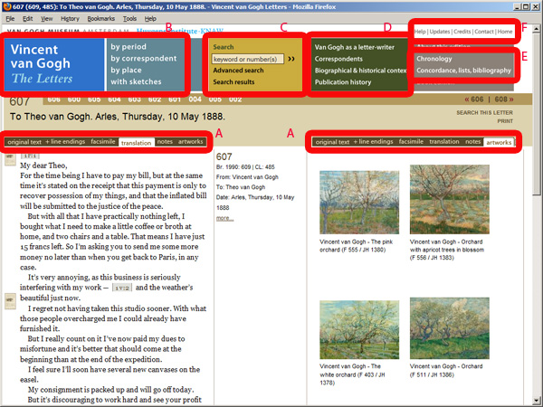 screenshot (189KB) : Figure 1 : Vincent van Gogh – The Letters: Letter 607.