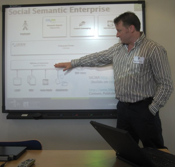 photo(46KB) : Sean O'Riain explaining the potential of Social Semantic Enterprise, photo: Tore Hoel