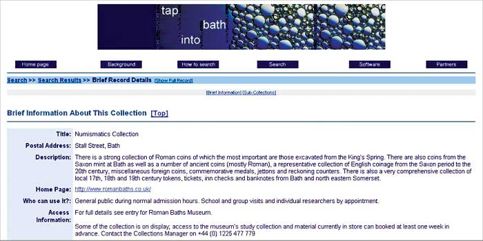 screenshot (44KB) : Roman Baths Numismatics collection - information page