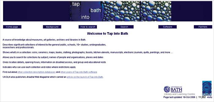 screenshot (32KB) : Tap into Bath Home Page