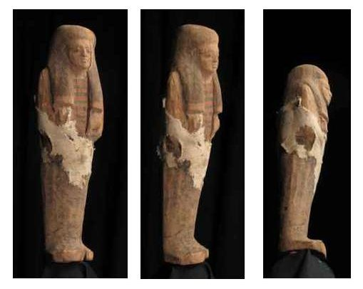 photos (29KB): Figure 7: A shabti (Egypt, New Kingdom, 1700-1200 BC): stills displaying angles of virtual manipulation