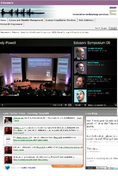 screenshot (59KB) : Figure 5: Screenshot of Eduserv Symposium 2009