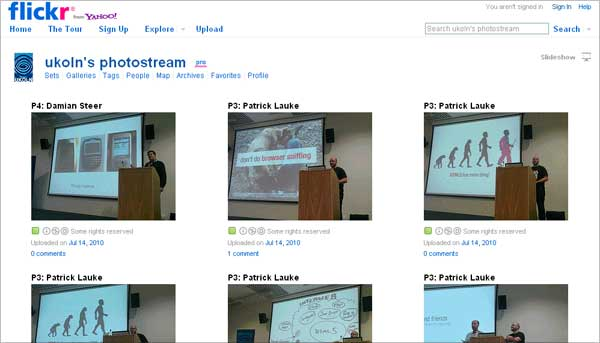 screednshot (26KB) : Figure 2 : Screenshot of UKOLN Flickr site
