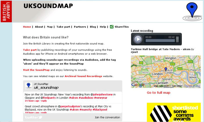 screenshot (74KB) : UK SoundMap project home page