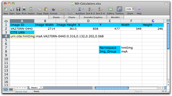 Figure 10: A spreadsheet file that calculates CITE URNs