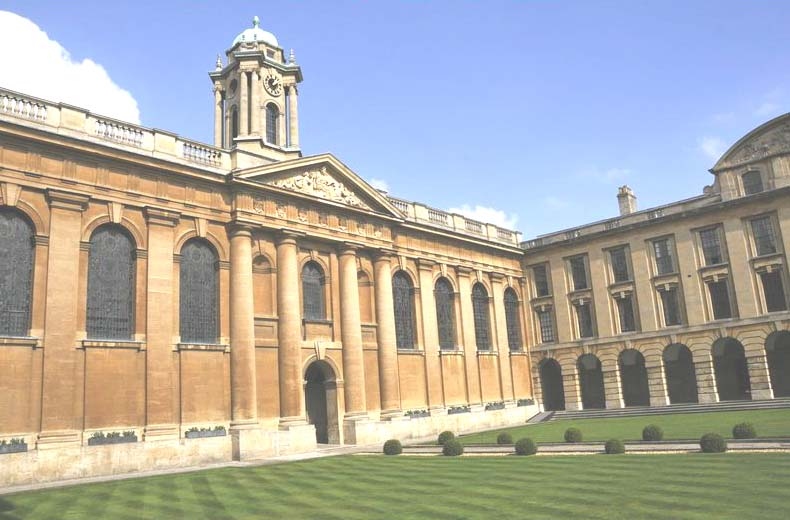 The elegant quad of The Queen's College, Oxford