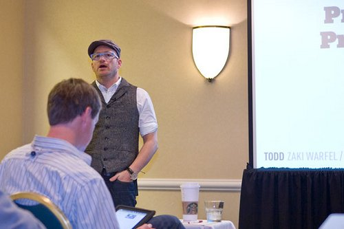 Figure 1: Todd Zaki Warfel leading his session entitled Progressive Prototyping – Condensed. Image courtesy of fhwebdev.