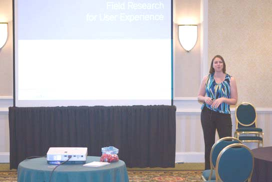 Figure 4: The author Danielle Cooley during her presentation on Field Research for User Experience.