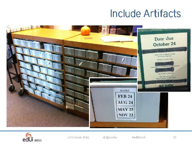 Figure 5: Due Date Card catalogue at a community college in Ann Arbor, Michigan, USA. Including photographs like these can be helpful in illustrating Field Research findings.