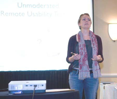 Figure 7: Kyle Soucy presenting on Unmoderated Remote Usability Testing.