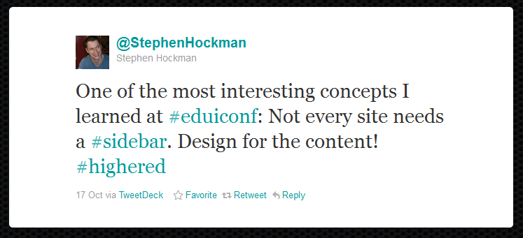 Figure 8: Stephen Hockman tweet in reaction to Wren Lanier's presentation.