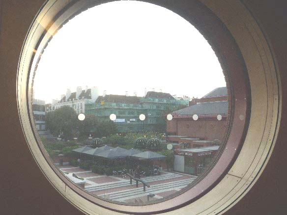 Through the round window: British Library courtyard