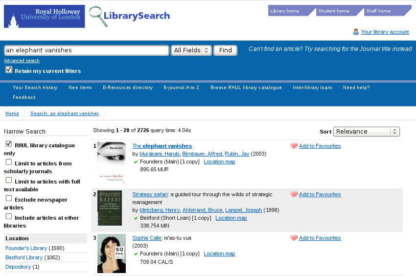 Figure 4: Summon Search results displayed in Vufind