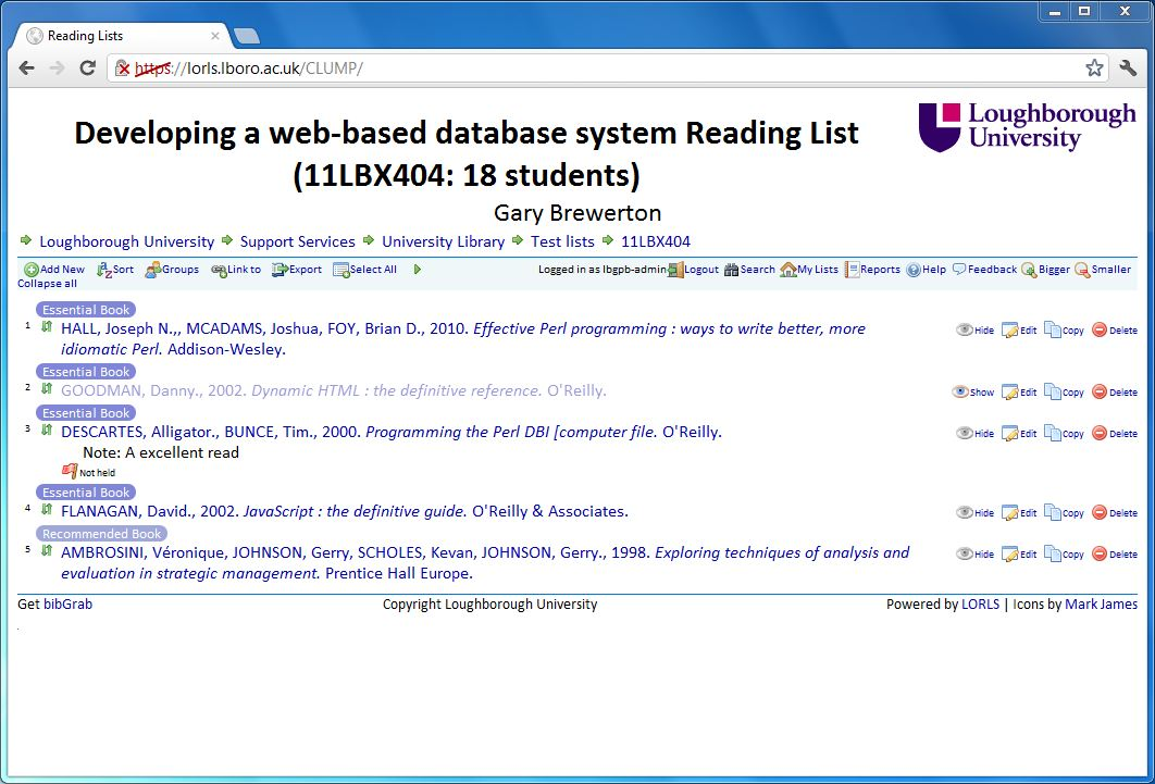 Figure 3: Screenshot of reading list
