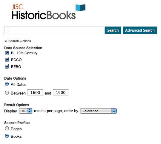 Figure 10: Revised home page for JISC Historic Books following community consultation and redevelopment