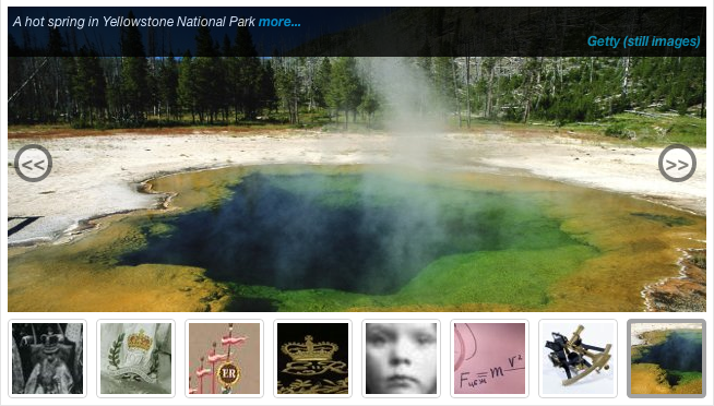 Figure 2: Home page montage from JISC MediaHub, giving a flavour of the kinds of resources available. The main image, of a hotspring in Yellowstone National Park, is from the Getty (Still Images) Collection.