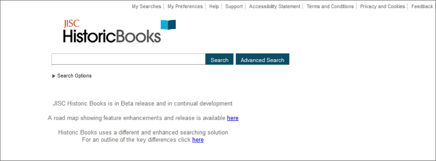 Figure 5: First iteration of JISC Historic Books home page