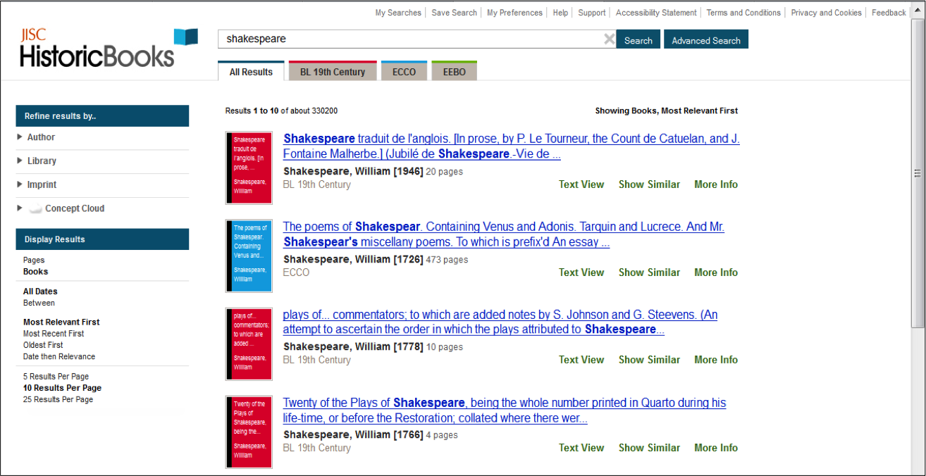 Figure 6: Search results display for JISC Historic Books, showing option to filter by colour-coded tabs (see detail) representing each collection within the platform