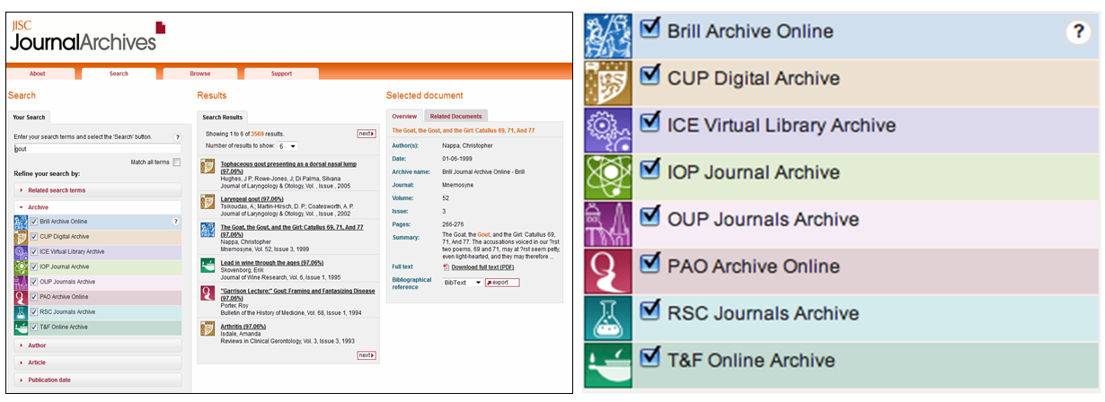 Figure 7: Search results display for JISC Journal Archives, showing ability to filter by graphic icons (right) representing each collection within the platform