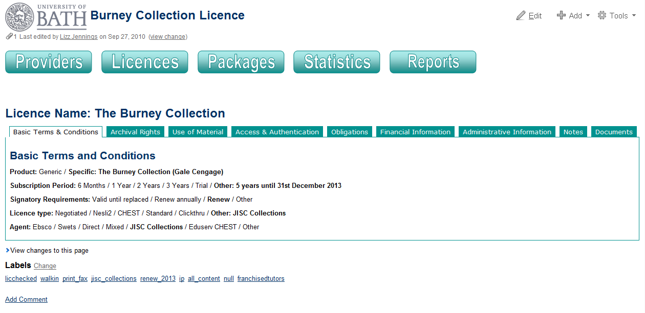 Figure 2: Example of a wiki page showing the licence terms for a resource