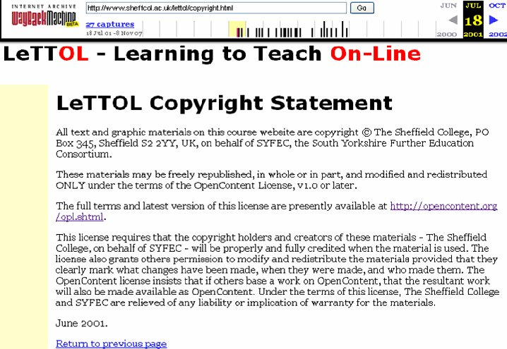 Figure 2: Copyright statement from the LeTTOL course