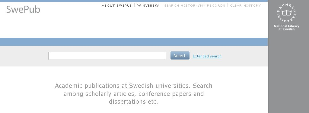 Figure 2: SwePub Web site