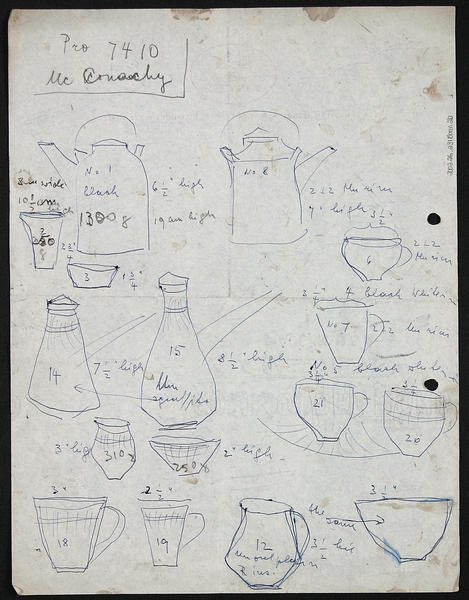 Figure 4: Lucie Rie, Loose sheet with sketches of pots in blue biro.  Lucie Rie Archive, Craft Study Centre