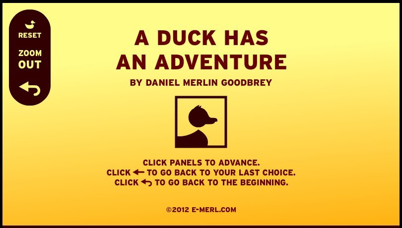 Figure 1: Daniel Goodbrey's game comic 'A Duck Has an Adventure'