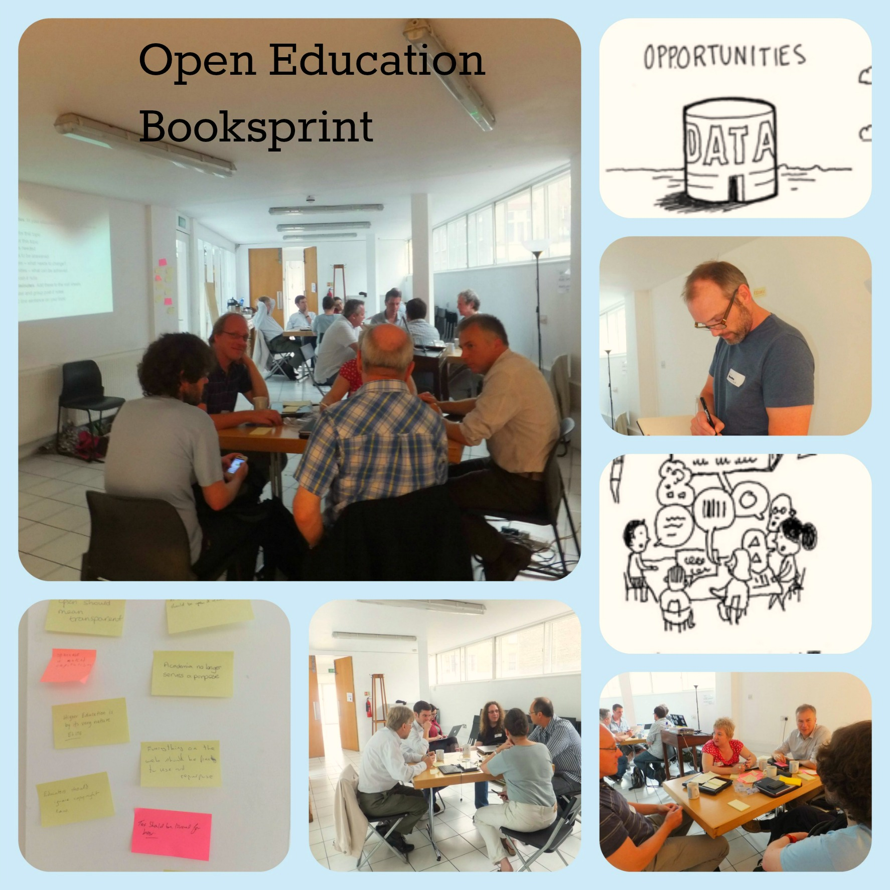 Figure 6: Images from the Open Education Handbook booksprint