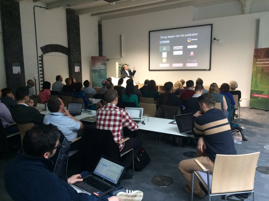 Daniel Hook delivers the keynote at figshare fest 2015 - click to enlarge